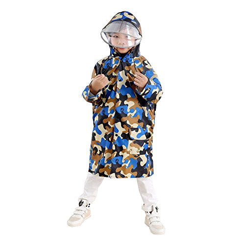 TMVOK レインコート レインウェア子供用 キッズ 通園 通学 ランドセル対応 ガールズ ボーイズ 雨合羽 傘 男の子 女の子 小学生 こども 雨具 迷彩 収納ポーチ付き (青色迷彩, XL (身長110~130cm))