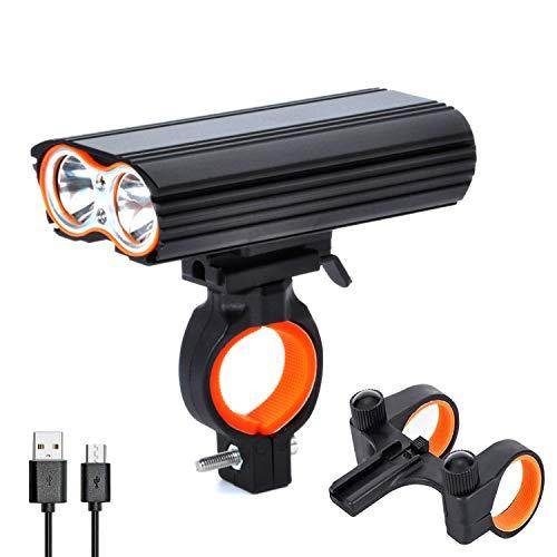 Chamsaler自転車ヘッドライト USB充電式 高輝度 4段階点灯モード 大容量LEDヘッドライト 18650バッテリー IP-65防水 防振 アルミ合金製 ポーツ・アウトドア自転車・サイクリング用ライト 防水防災 フロント用 300メートル照射