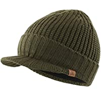Home Prefer Outdoor Hat Winter Warm Thick Knit Beanie Cap with Visor