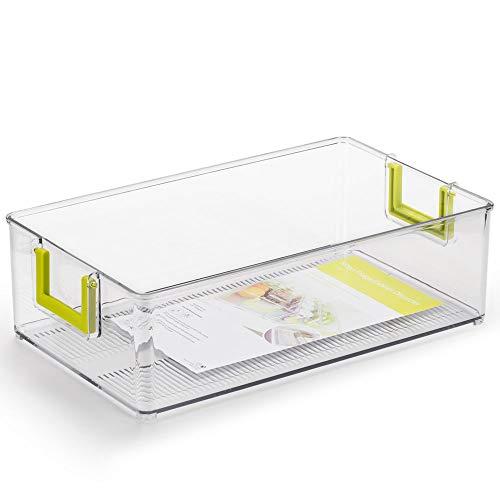 Synziar冷蔵庫収納ボックス PET材質 収納ラック 透明 取っ手 キッチン 冷蔵庫 キャビネット パントリー 卓上に最適 省スペース368*212*105mm