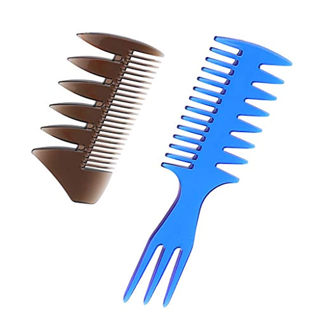 錆び食料品店埋める2本 男性 油性の髪櫛 ヘアブラシ ヘアサロン 広い歯櫛