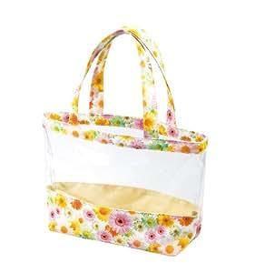 海水浴やプールにオススメ。B5サイズのお手ごろトート「リトルガーデンクリアトートバッグ」 花柄・はっ水加工