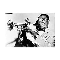 Vintage Portrait Louis Armstrong Trumpet Jazz Legend Cool Wall Art Print ビンテージポートレートルイジャズ伝説クール壁