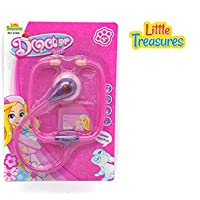 Little Treasures 2-Piece Pretend Play Doctor Set with Stethoscope and ID badge for Kids Ages 3 and Up