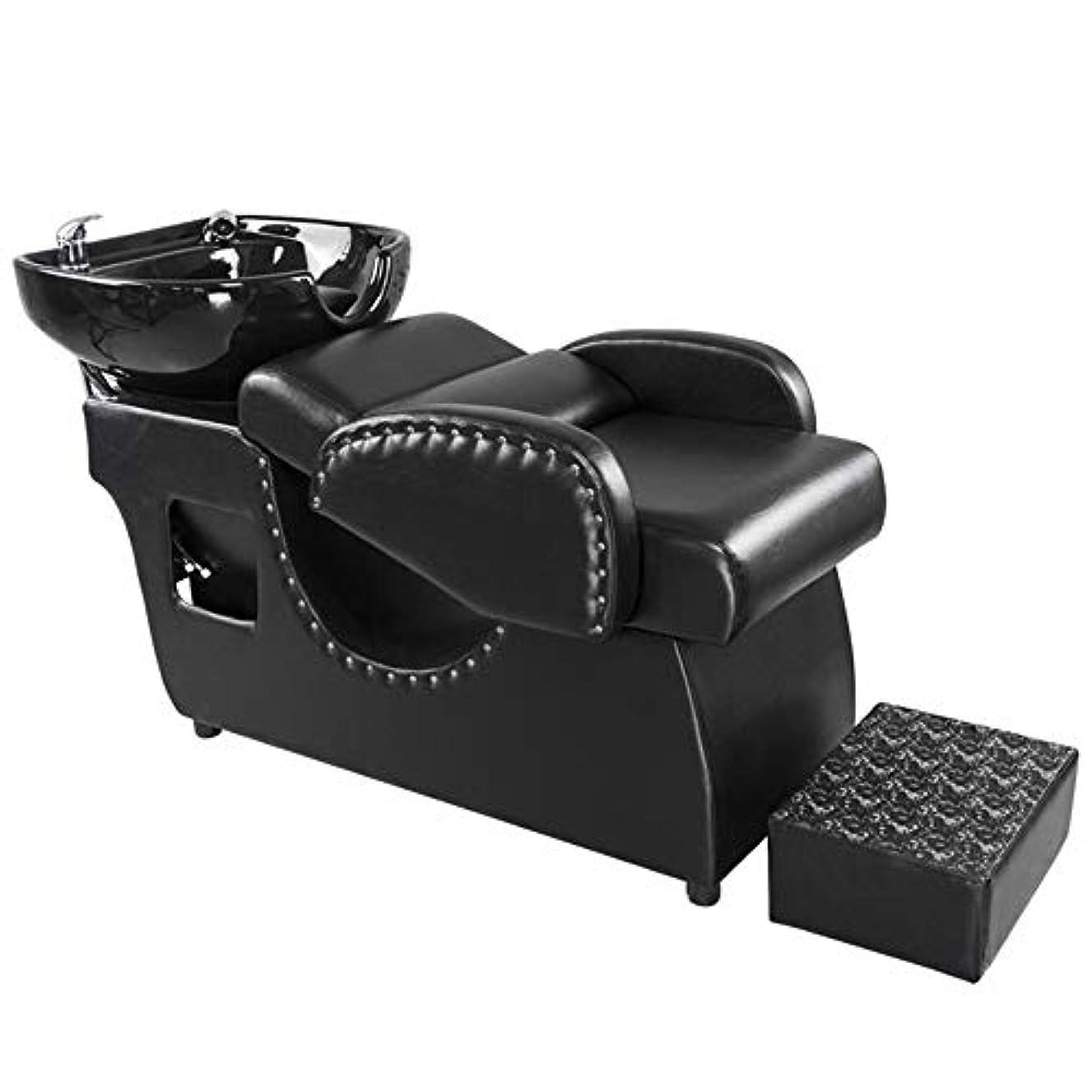 シャンプーの理髪師の逆洗の椅子、鉱泉の美容院のためのベッドを洗う陶磁器の洗面器の流しの流しの椅子