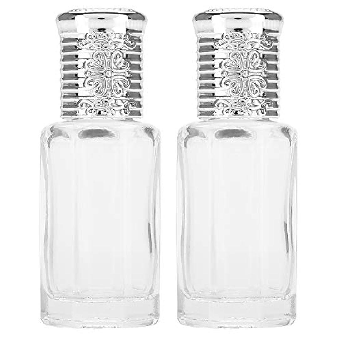散らす無関心下に向けます2枚ガラスローラーボトル 香水、エッセンス、液体物質などのスキンケア製品の保管 ミニローラーボトル(10ML銀)
