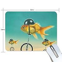 ミニサイズ パソコン ゲーミング マウスパッド 防水 ゴールド 魚 デスクマット パッドト滑り止めゴム底 耐久性が良い キーボード 学校 オフィス用