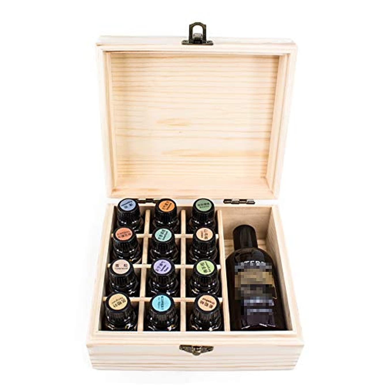 不純リストシャンパン精油ケース ストレージディスプレイ用の13スロット木エッセンシャルオイル箱ケースオーガナイザーホルダー 携帯便利 (色 : Natural, サイズ : 15X17X8CM)