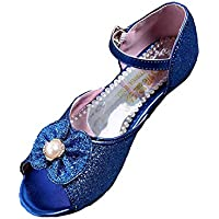 Naisidier Girls Dance Shoes Microfiber Shiny Sequin Peep Toe Ballroom Latin Shoes with Bowknot Decoration for Party and Prom
