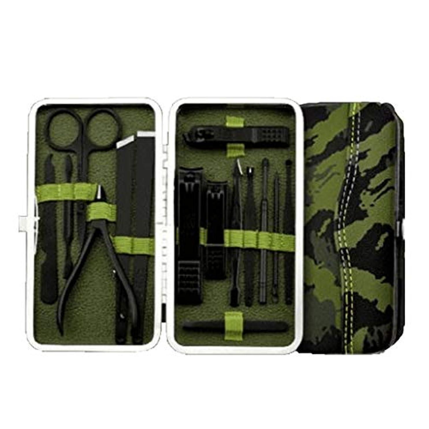 それぞれ複合過剰ZGSH マニキュアツール、15セットの爪切りセット、ステンレス鋼のマニキュア、 (Color : Green)