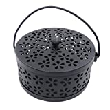 LIOOBO Mosquito Coil Holder Retro Portable Mosquito Incense Burner for Home and Camping (Black)