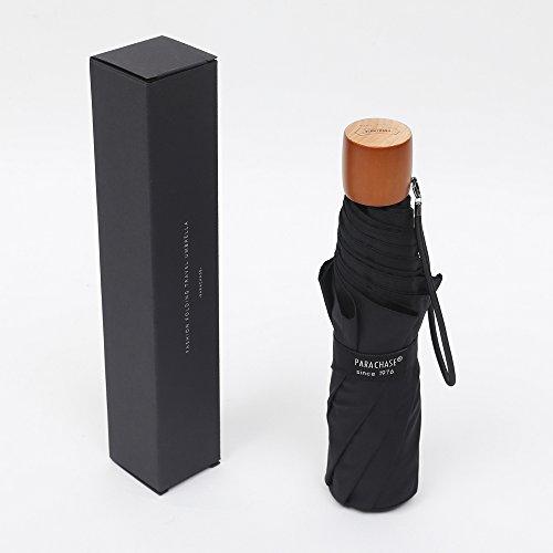 PARACHASE 折りたたみ傘 軽量 重さ269g 親骨60cm ブランド 風に強い グラスファイバー 撥水 メンズ レディース ケース付き ブラック