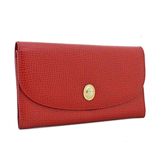 クリスチャンディオール Christian Dior 二つ折り 長財布 レッド レディース レザー [中古]