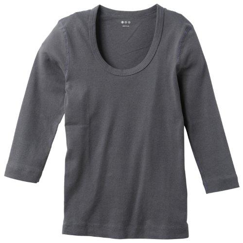 (スリードッツ)THREE DOTS 並行輸入 JESSICA SCOOP NECK 3/4 SLEEVE ジェシカ スクープネック (Uネック) 7分袖Tシャツ AA4S041 NYG NEW YORK GREY S