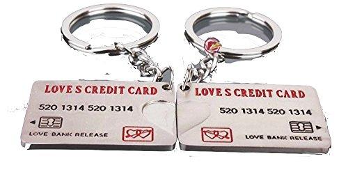 カップル! ペア キーホルダー ラブラブな 2人 プレゼント おしどり夫婦 美しい 輝き メタリックな LOVE BANK CARD