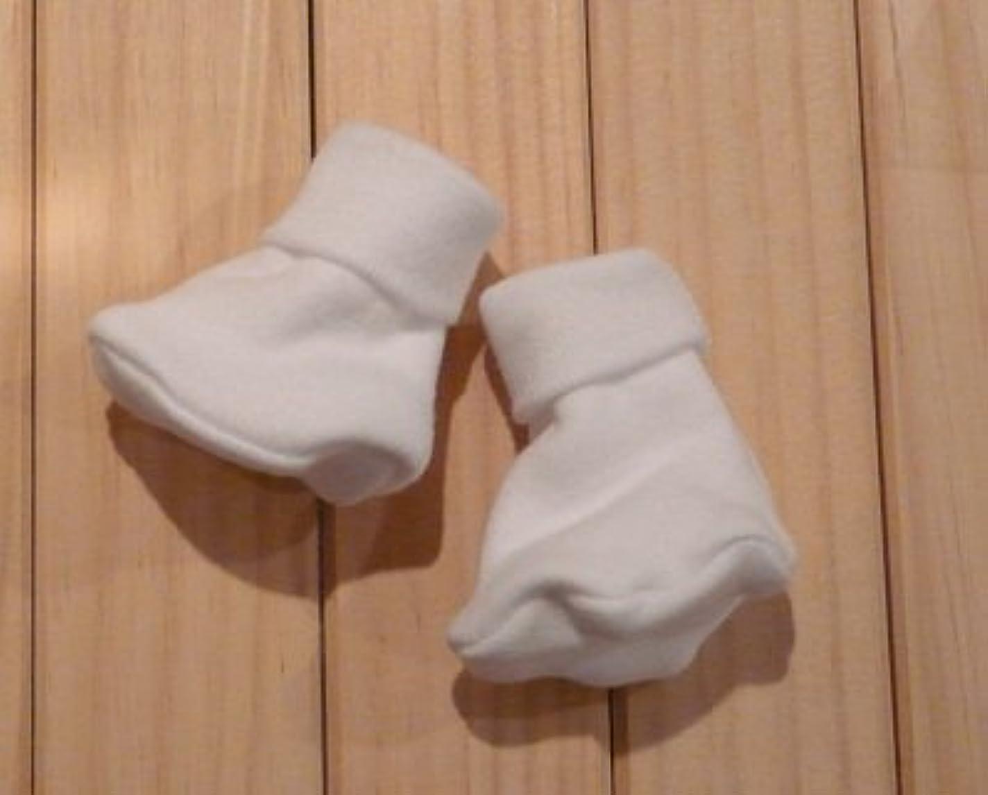 耳トレーダー決済【未熟児】【低出生体重児】【早産児】【NICU】用 ベビー服:ブーティーソックス ホワイト