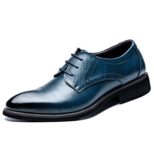 [タレークス] ビジネスシューズ メンズ 紳士靴 革靴 フォーマル 外羽根 プレーントゥ 通気性 25.5cm ネイビー