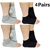 AYAOQIANG Moisturizing Gel Socks Open Toe Silicone Gel Heel Socks,Spa Socks for Dry Hard Cracked Skin -2 Pair (Black and Grey)