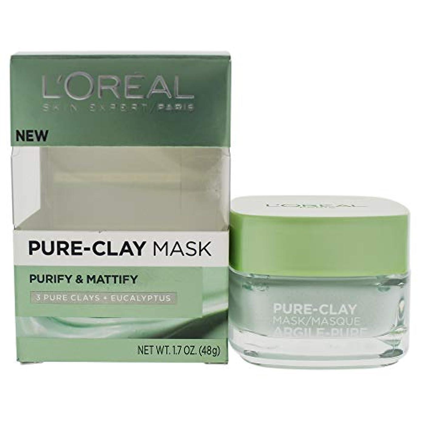 チップ囲む行商人L'Oreal Paris Pure Clay Mask, Purify and Mattify, 48g