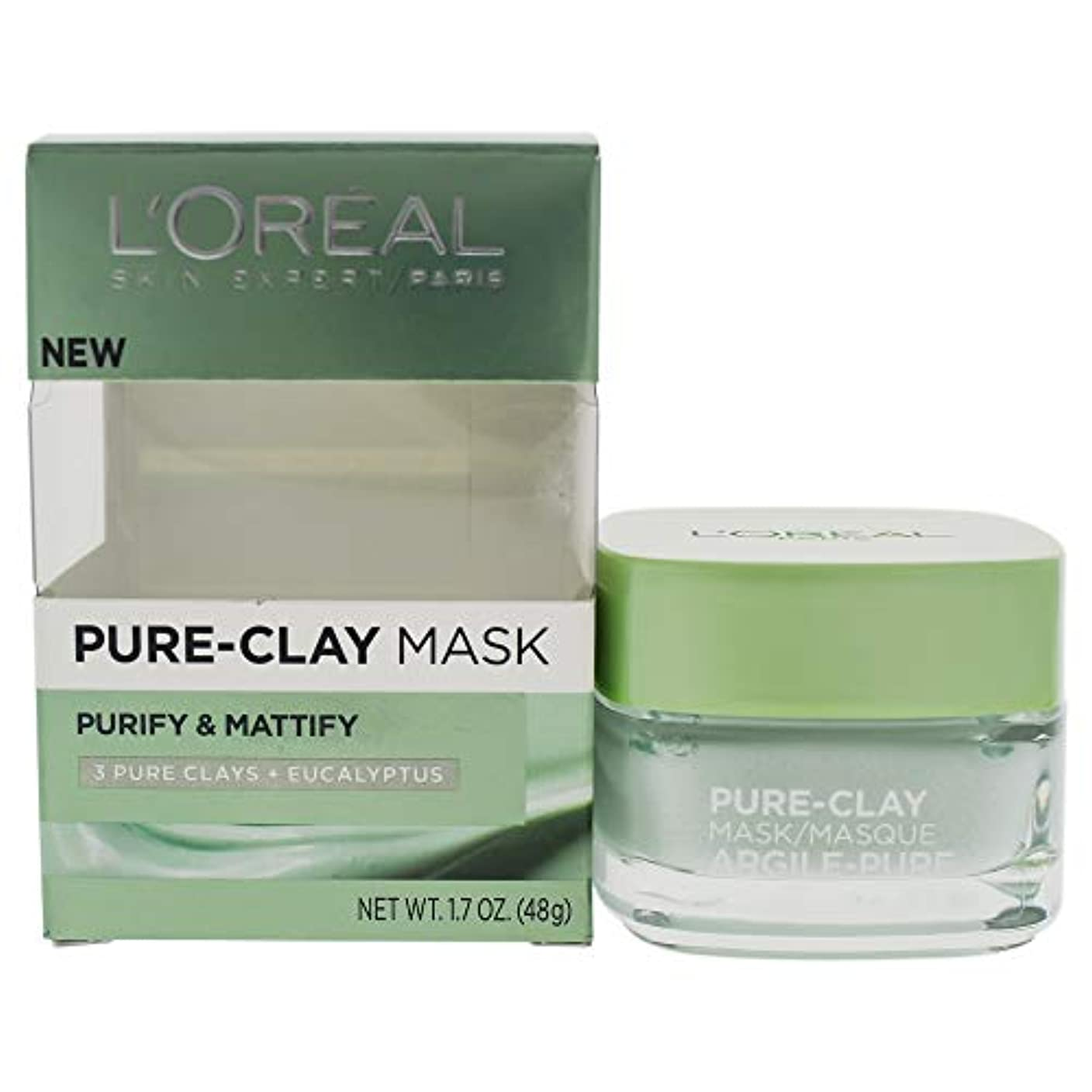 郵便屋さんトリム外側L'Oreal Paris Pure Clay Mask, Purify and Mattify, 48g