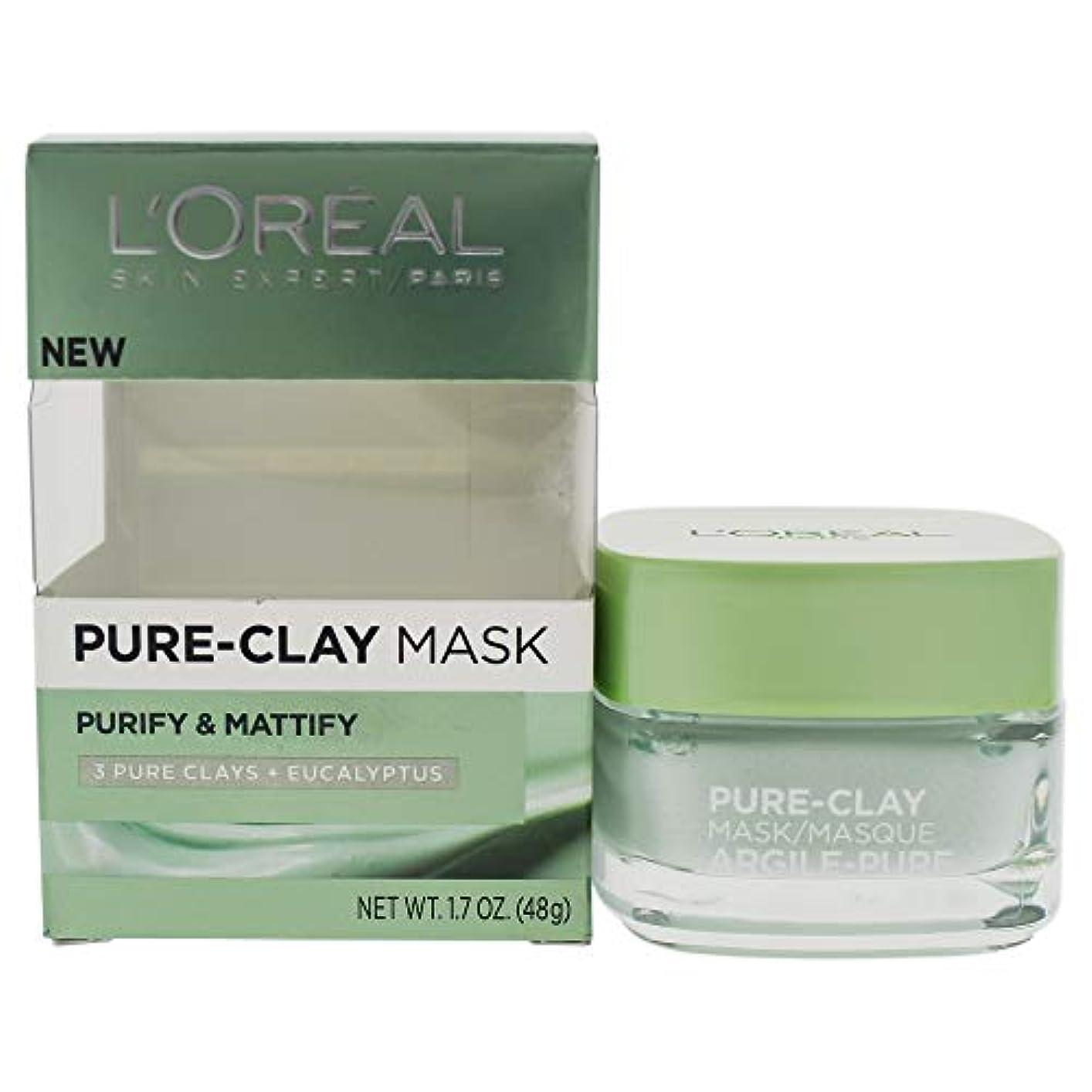 保証金可能ポールL'Oreal Paris Pure Clay Mask, Purify and Mattify, 48g