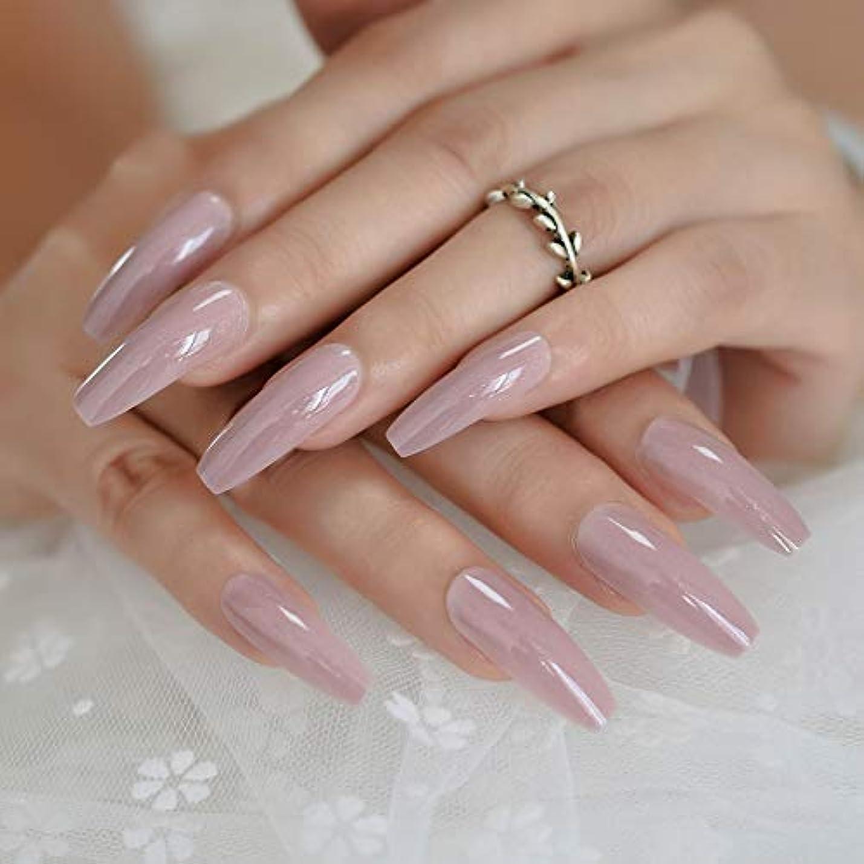 消費者フィット松明XUTXZKA ネイルアートのヒントブライトヌードピンクキラキラキラキラパターン偽の爪薄い光色のヒント