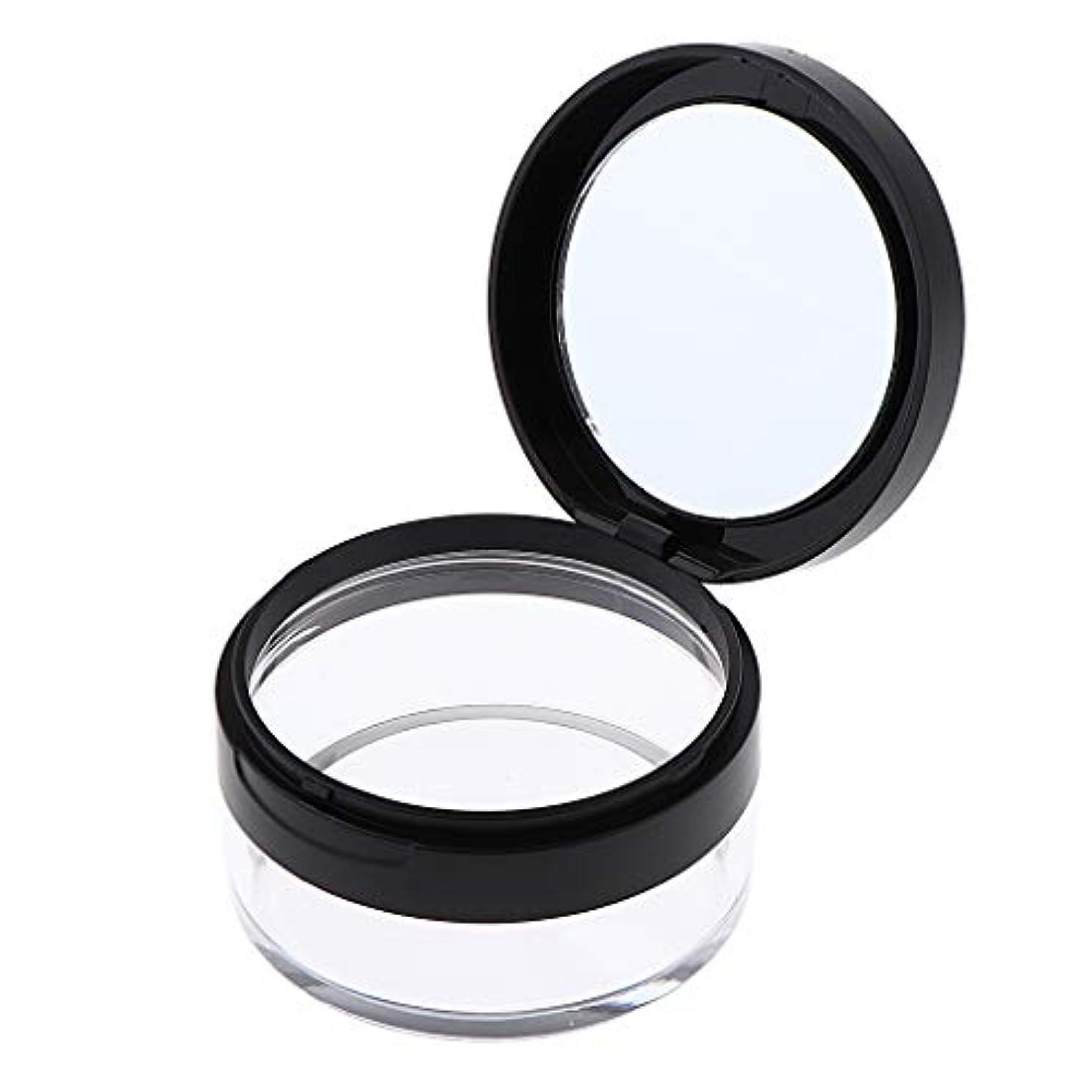 配管宣言フォルダ化粧パウダーケース 化粧鏡付 コスメ用詰替え容器 携帯用 2色選べ - ブラック