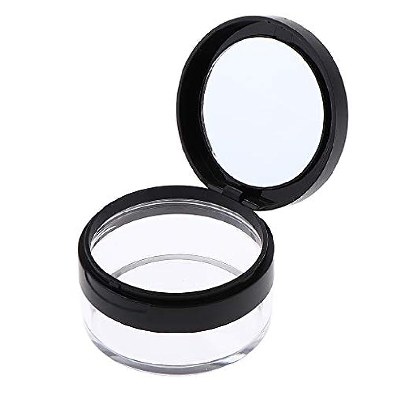 結婚した委任嘆願P Prettyia 化粧パウダーケース 化粧鏡付 コスメ用詰替え容器 携帯用 2色選べ - ブラック