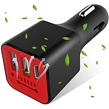 Runostrich 車載充電器マイナスイオン清浄器付き3.1A ダブルUSBポート+Type Cポート、車内の空気を浄化し、スマート分流より急速充電ができます(黒/赤)