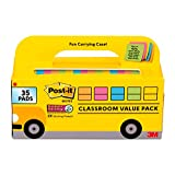 Post-it Super Sticky Notes, Classroom Value Pack, 35 Pads/Pack, 2X The Sticking Power, 3 in. X 3 in, Bright Colors (654-35SSBUS)