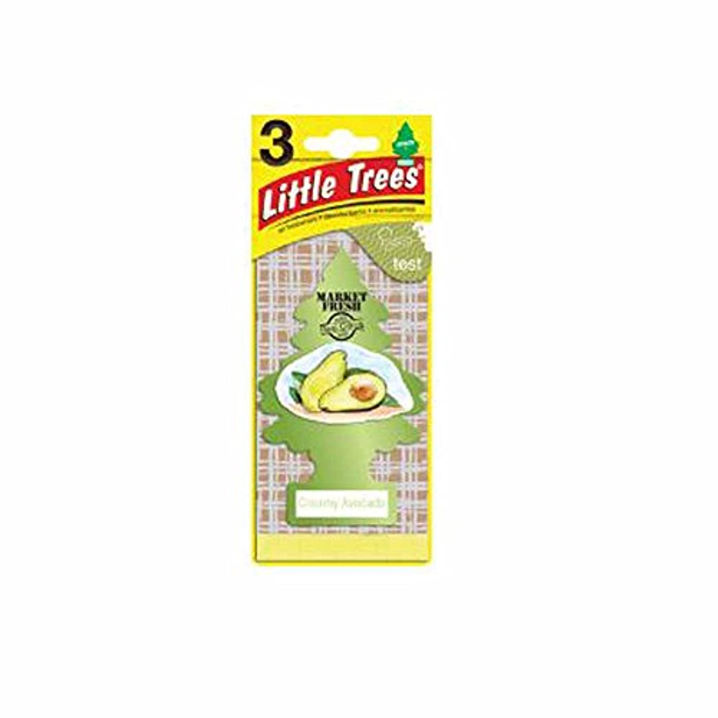 性格温度下にLittle Trees 吊下げタイプ エアーフレッシュナー creamy avocado(クリーミーアボカド) 3枚セット(3P) U3S-37340