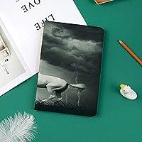 カスタム iPad Pro 11 2018 ケース (2018新モデル) マグネットス吸着式 オートスリープ機能雷の夢のような劇的なプリントで雷雨の雲の下を走る馬