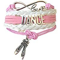 Dance Bracelet Gift for Girls, Infinity Dance Bracelet with Ballet Shoes Charm. Perfect Gift for Girls who Love to Dance - Pink Bracelets for Girls. Gift Boxed for Birthdays, Prizes, Gifts.