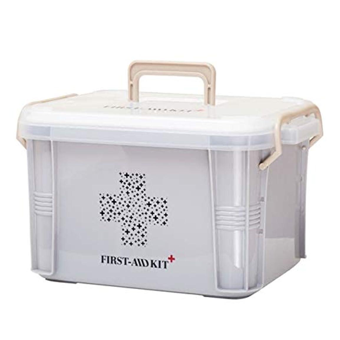繁殖鑑定武器Saikogoods 実用的なデザインホーム用薬箱ファーストエイドキットボックスプラスチック容器の救急キットポータブルストレージオーガナイザー グレー S