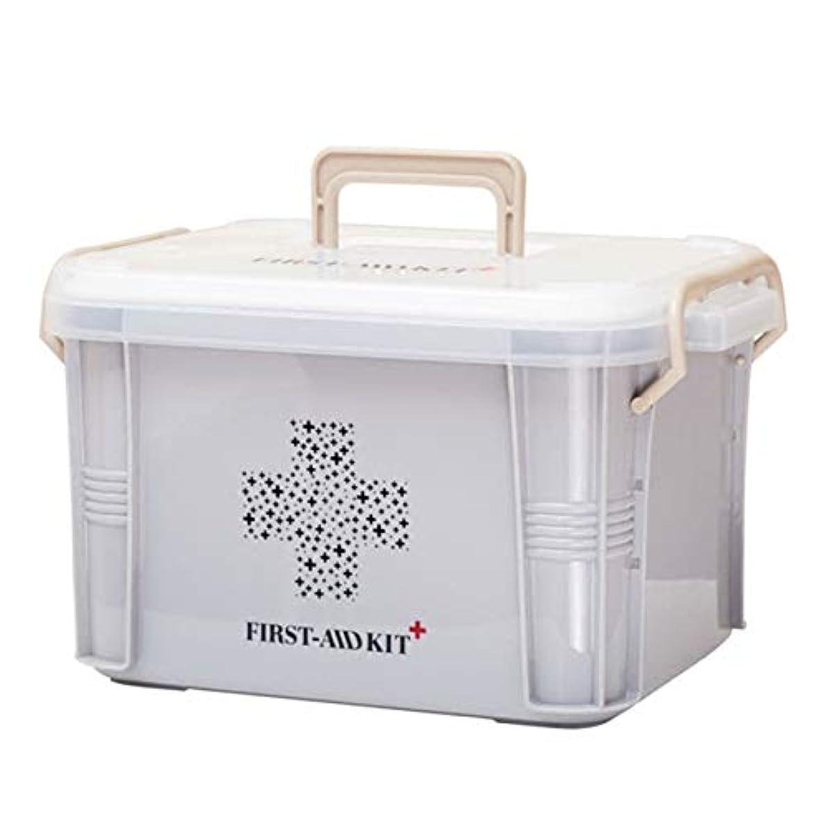 血統航海勇敢なSaikogoods 実用的なデザインホーム用薬箱ファーストエイドキットボックスプラスチック容器の救急キットポータブルストレージオーガナイザー グレー S