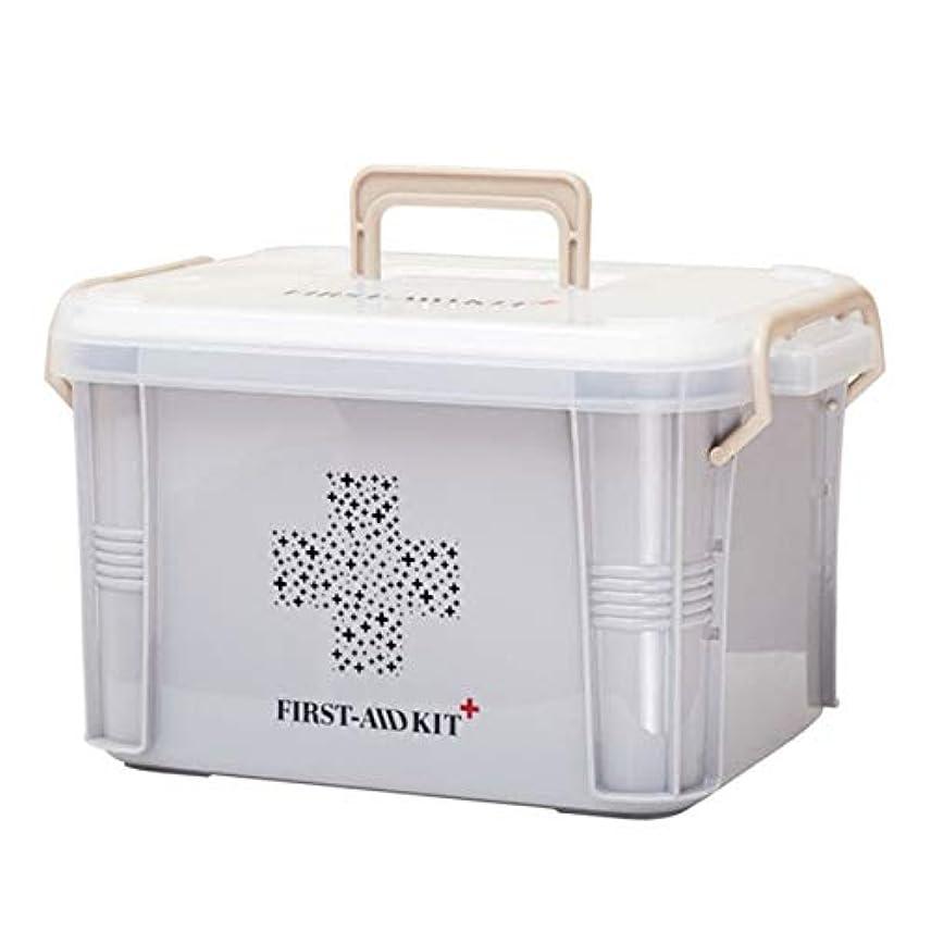 ふりをする形式Saikogoods 実用的なデザインホーム用薬箱ファーストエイドキットボックスプラスチック容器の救急キットポータブルストレージオーガナイザー グレー S