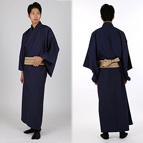 着物男紬洗える着物袷紺LLサイズ