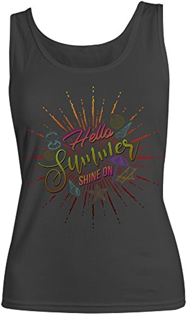賛辞ばかげたタブレットHello Summer Shine On Sun Vacation Holiday レディース Tank Top Sleeveless Shirt