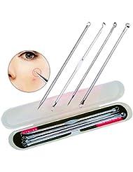 4PCS Blackhead Extractor Black Dots Pimple Cleaner Acne Blemish Remover Needles Set Black Spots Pore Point Noir...