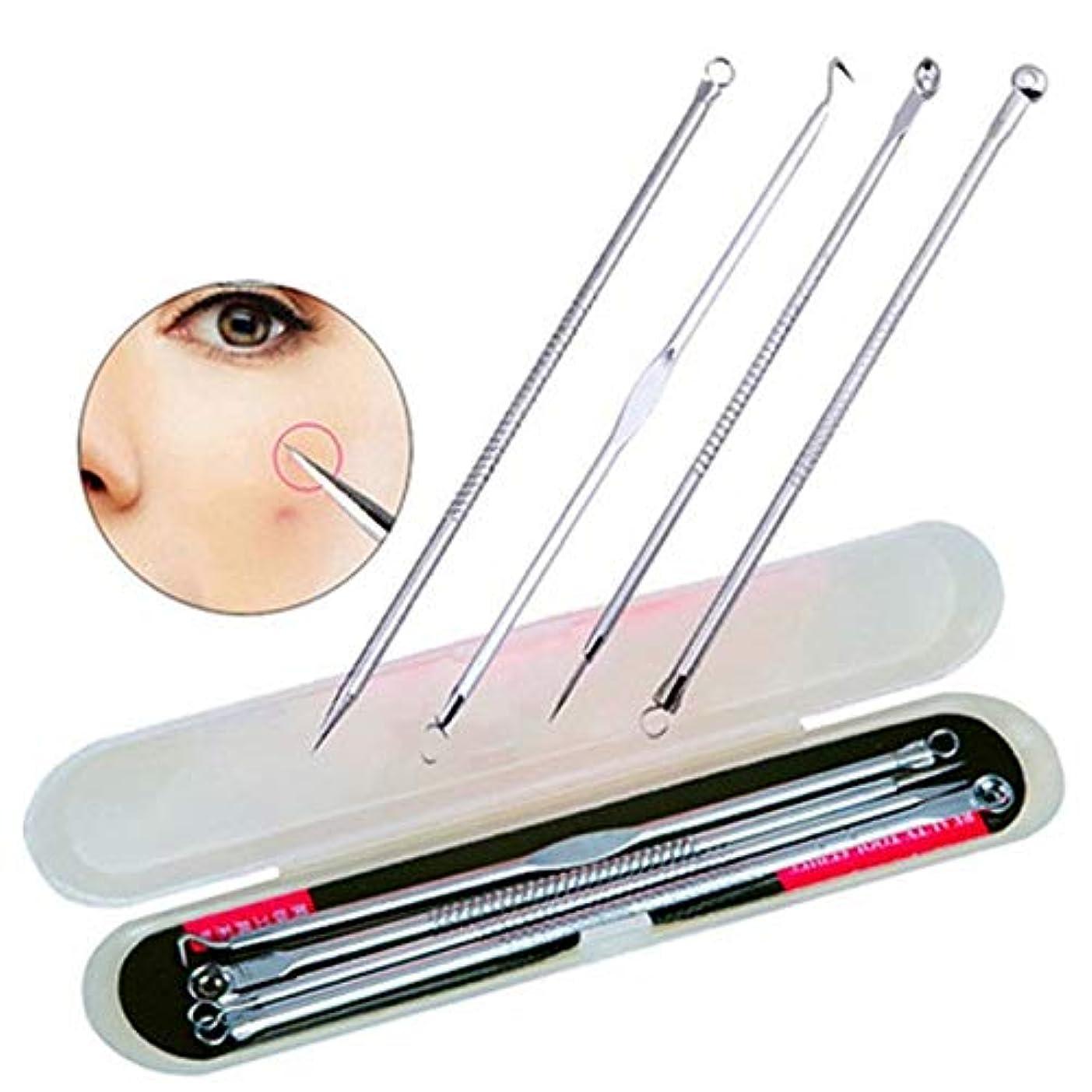 方法後ろに小道4PCS Blackhead Extractor Black Dots Pimple Cleaner Acne Blemish Remover Needles Set Black Spots Pore Point Noir...
