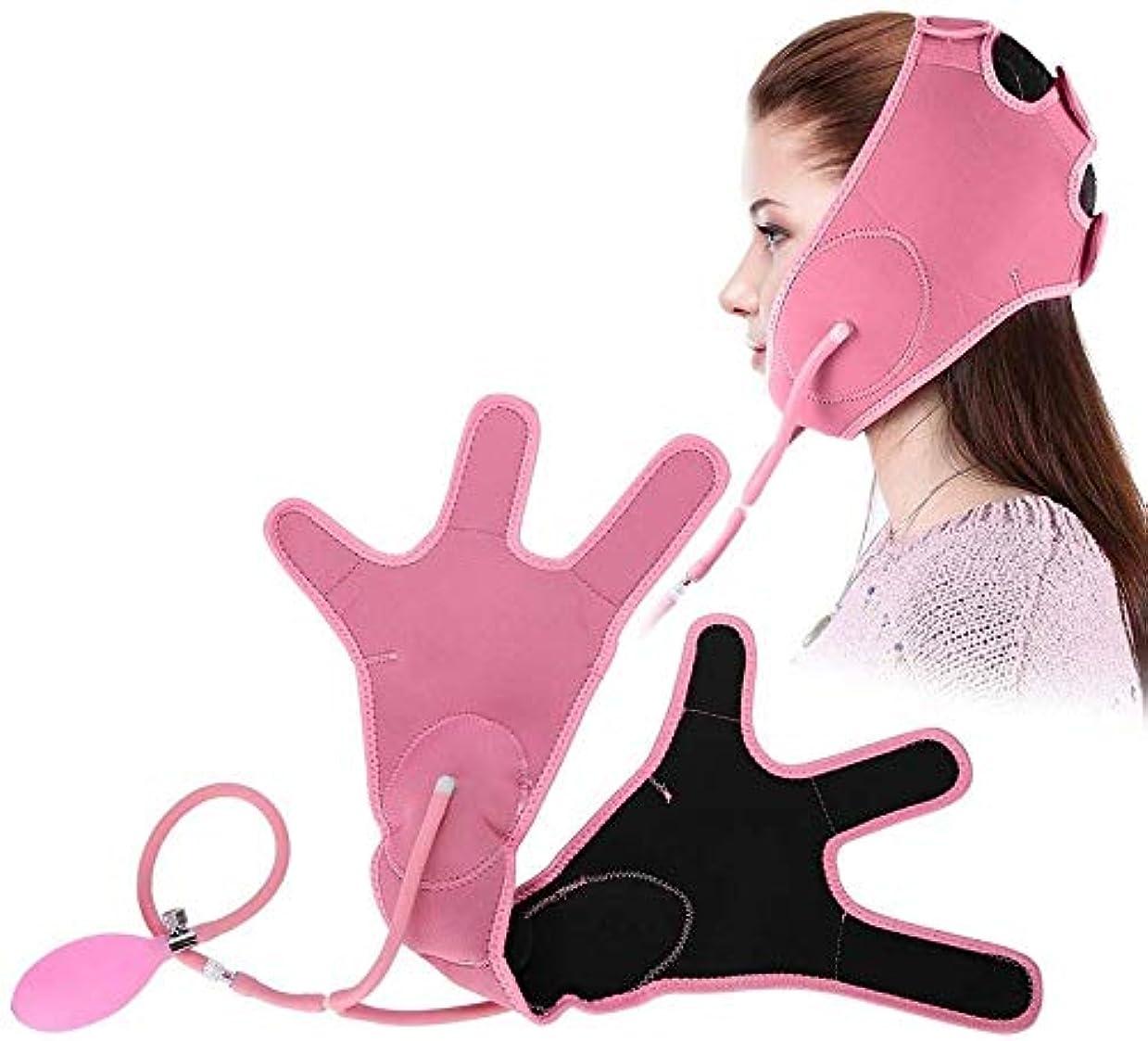 情熱の配列毛皮HEMFV フェイススリミングマスク、ベルトを持ち上げるインフレータブル顔、エアバッグ?フェイシャル包帯ナチュラルVフェイスチークチンは、タイトなバンドを持ち上げ、フェイスリフトシェイパービューティーケアツールマスク