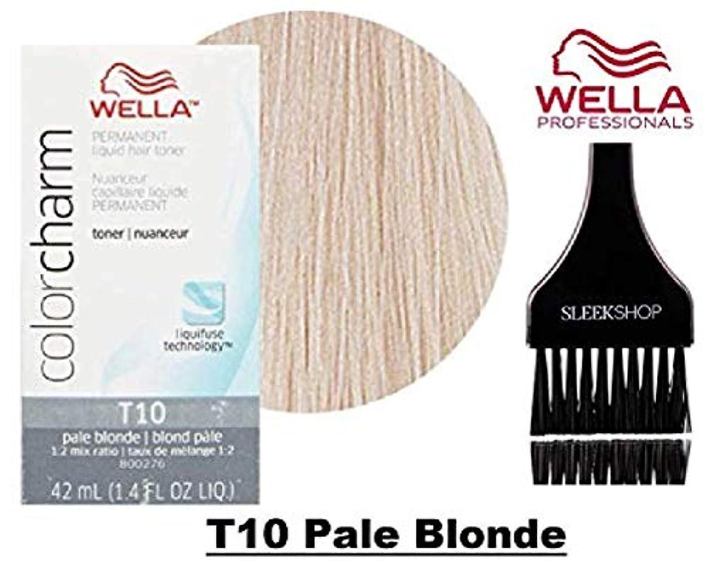 流行している隠されたランダムCoty Wella ウエラカラーチャームパーマネントリキッドヘアトナー(なめらかな色合いブラシ)ヘアカラーLiquifuse、1:2の混合比ヘアカラー色素 T10ペールブロンド。