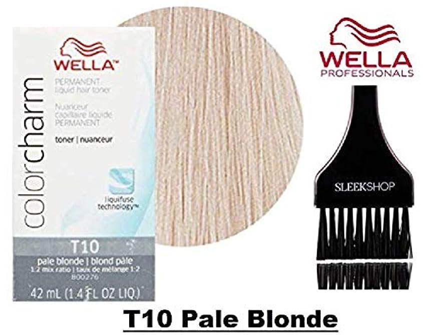 無限アフリカ慣れているCoty Wella ウエラカラーチャームパーマネントリキッドヘアトナー(なめらかな色合いブラシ)ヘアカラーLiquifuse、1:2の混合比ヘアカラー色素 T10ペールブロンド。