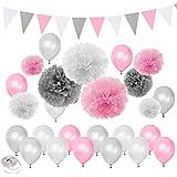 パーティー飾り付け 誕生日 女の子 ピンク シルバー ホワイト バルーン 風船 ペーパーフラワー ポンポン ガーランド ベビーシャワー 100日 半歳 1歳 70枚セット