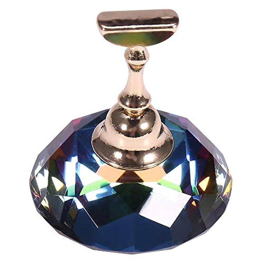頭魅惑的な好意的ネイルチップスタンド 磁気 ホルダー サロン DIY マニキュア 合金 ネイルアート ディスプレイ チップ ホルダー (ダイヤモンド柄+ホルター)