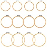 """WOWOSS 12 Pieces 3 Size Embroidery Hoops Wooden Round Adjustable Bamboo Circle Cross Stitch Hoop Rings for Embroidery and Cross Stitch Art Craft Handy Sewing - 4"""", 5"""", 6"""""""