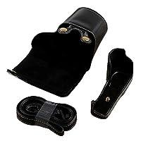 Sony A5100用ストラップ付きフルボディカメラPUレザーケースバッグ (黒)