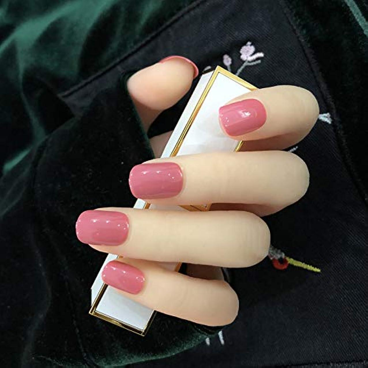 絡まる栄光フライカイトオフィスネイルチップ 24枚 ショートつけ爪 シンプルワンカラーレディースカラージェル (ローズレッド)