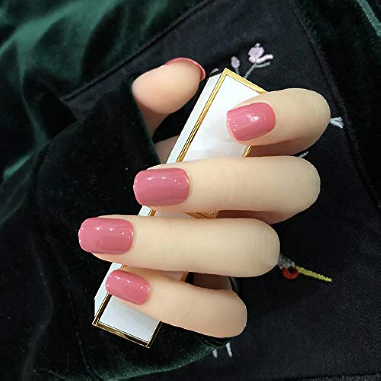 植木祝福支出オフィスネイルチップ 24枚 ショートつけ爪 シンプルワンカラーレディースカラージェル (ローズレッド)