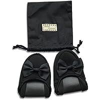 [Kazumiya] 携帯スリッパ 女性用 折り畳み ルームシューズ かわいい お受験 参観 室内履き おしゃれ 旅行 学校 収納袋付き